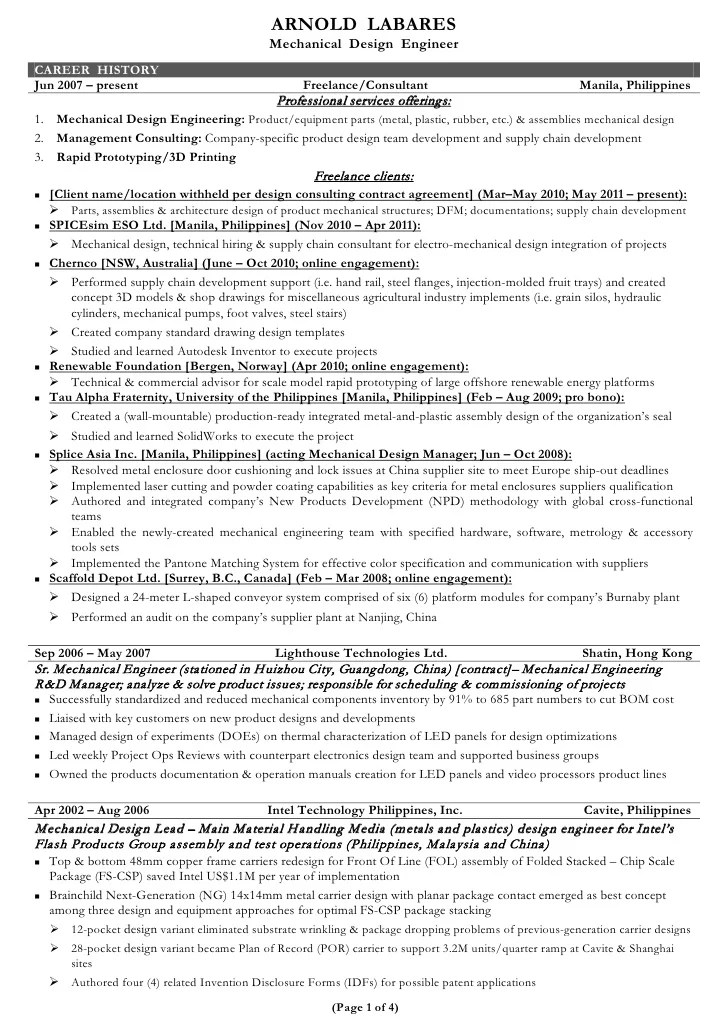Resume Senior Project Engineer It Project Manager Resume Example Arnold Labares Cv
