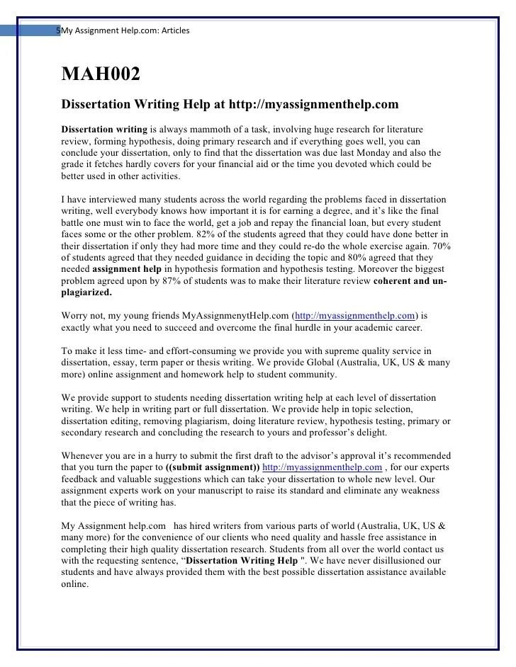 Free advice online on DISSERTATION WRITING