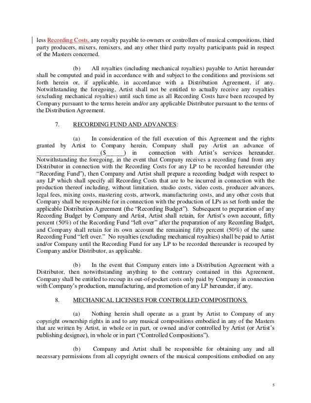 Letter Of Intent Trust Counsel Artist Owned Record Company Letter Of Intent Contract