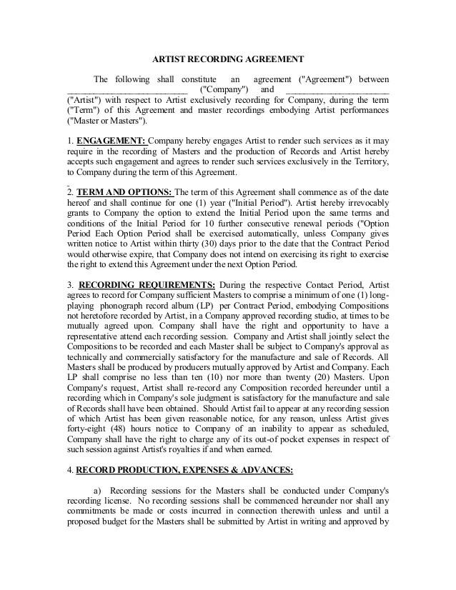Artist Performance Contract Template - Eliolera - sample artist contract template