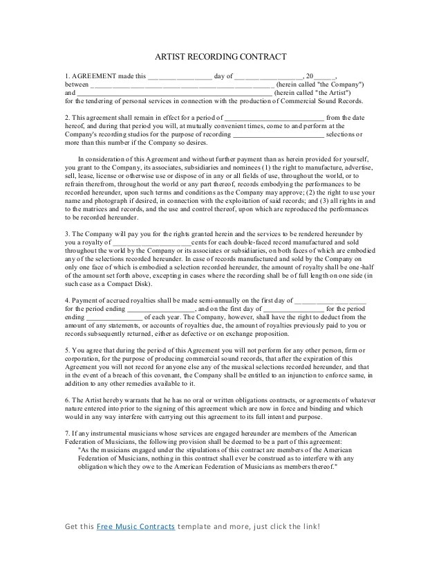 music artist contract template - Onwebioinnovate - artist agreement contract