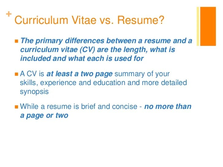 what is the difference between cv and resumes
