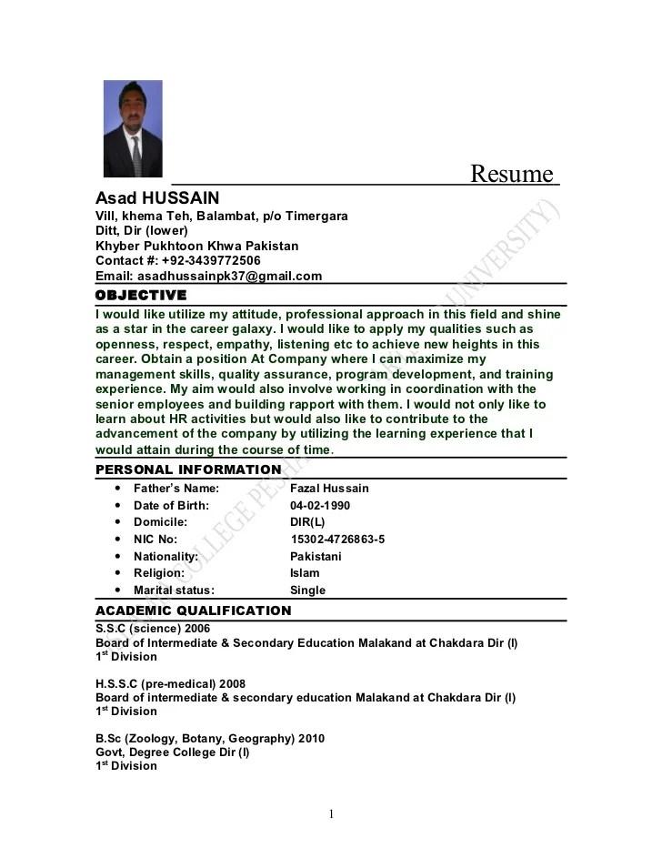 Curriculum Vitae O Cv Pakistani Cv Format Doc