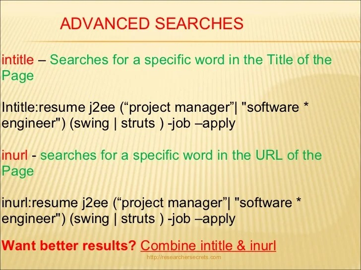 google resume search syntax