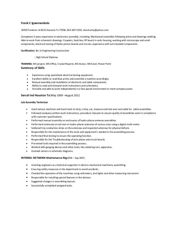 electronic assembler resumes - Josemulinohouse - electronic assembler sample resume