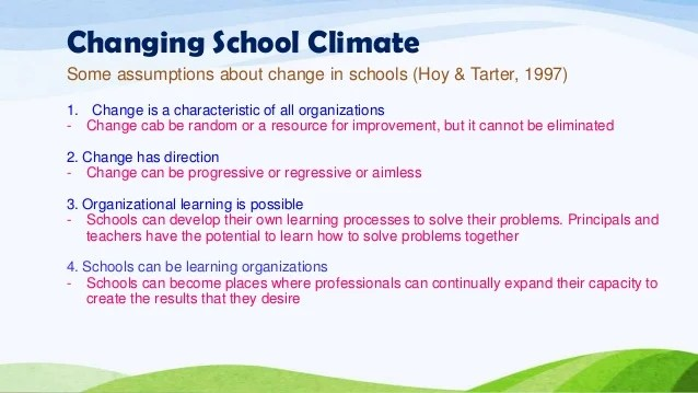 Assessing and changing school culture and climate