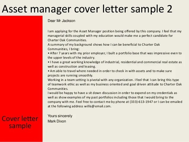 asset manager resume cover letter
