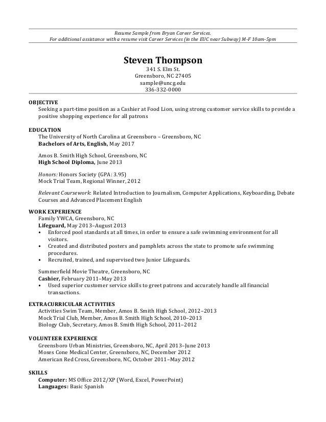 sample part time resume for food service