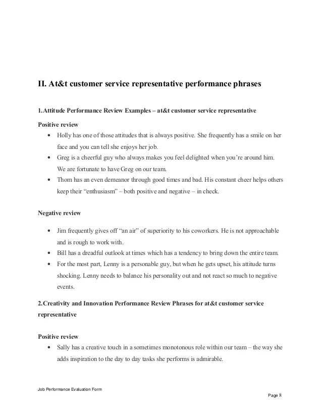 employee performance evaluations examples - Baskanidai - employee performance format