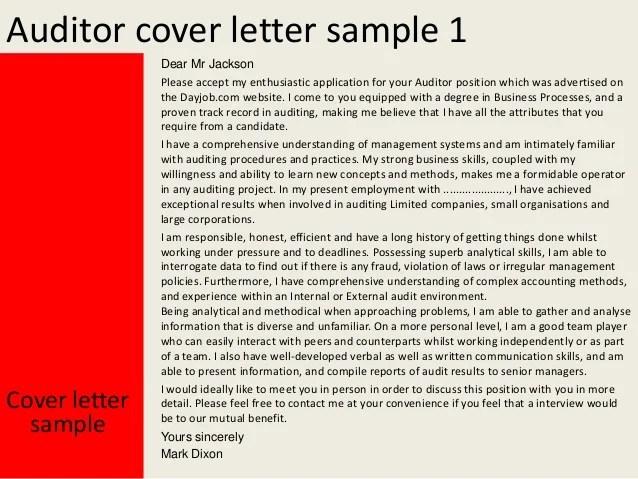 cover letter for internal auditor