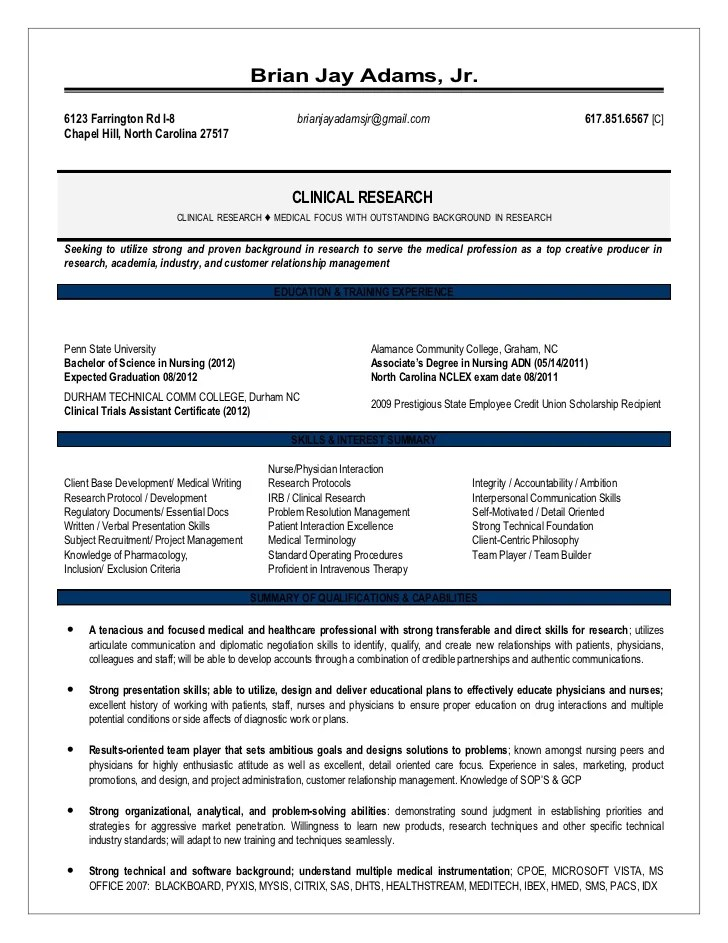 sample resume for clinical research associate - Onwebioinnovate
