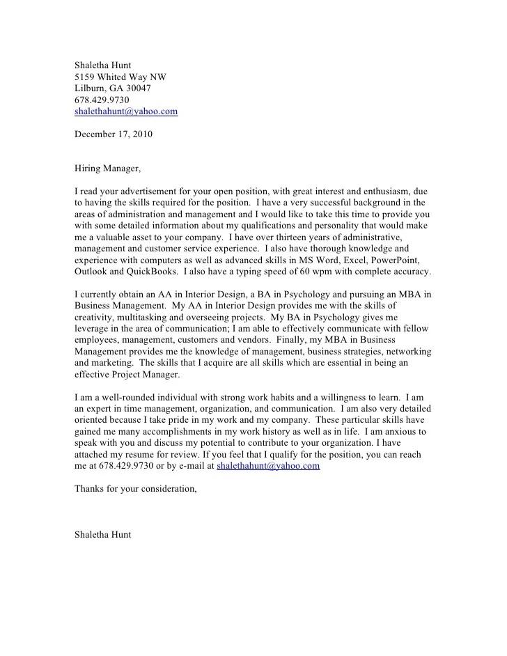 Smartcoverletter Free Cover Letter Writer Shaletha Hunt Cover Letter