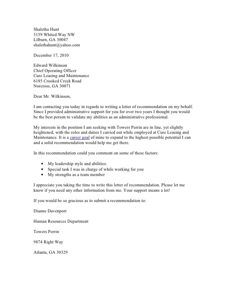 requesting letter of reference - Ozilalmanoof - Sample Recommendation Request Letter