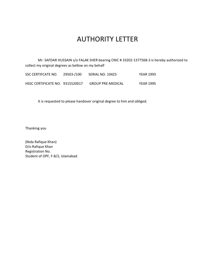 Authorization Letter Release Document | Case Study Examples For