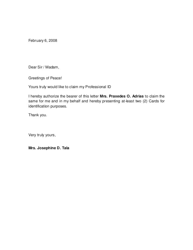 10 Best Authorization Letter Samples And Formats Authorization Letter