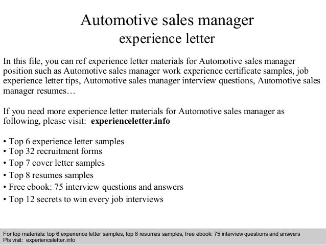 automotive sales cover letter - Minimfagency