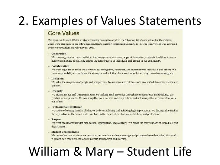 personal values statements - Funfpandroid