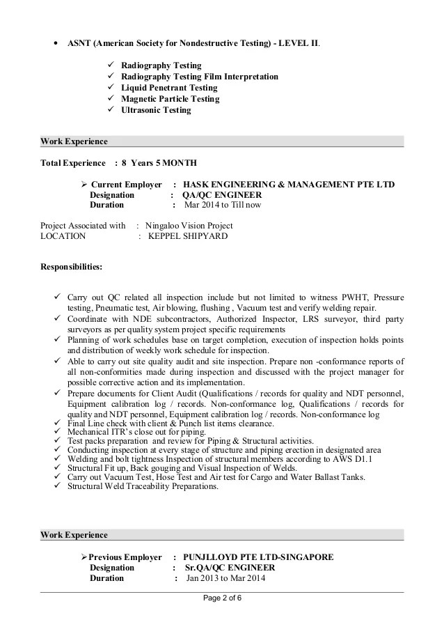 Ndt Resume Format Professional Ndt Trainee Templates To Showcase - ndt resume samples
