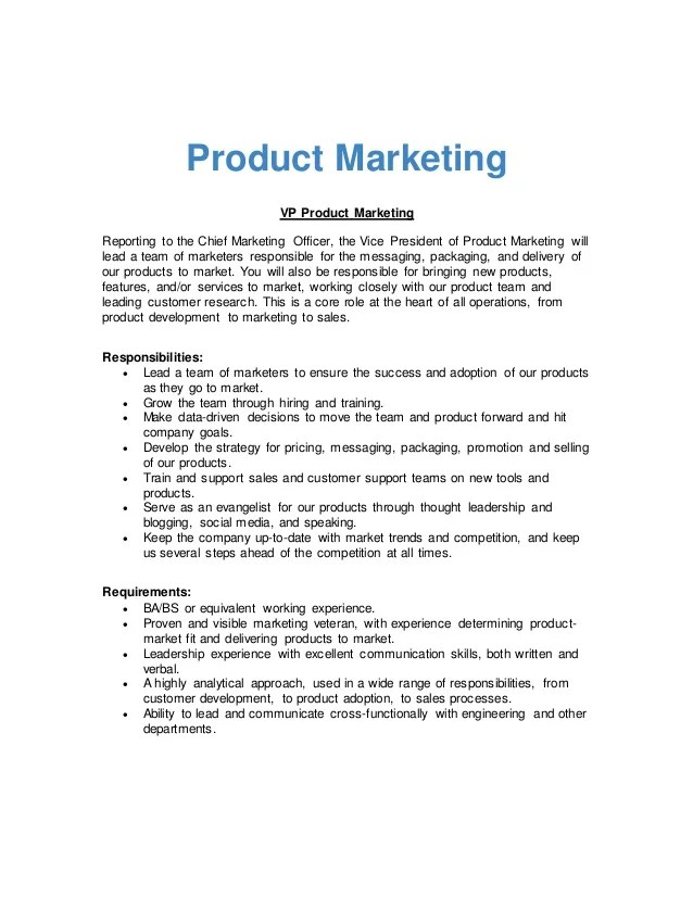 vice president of sales and marketing job description - Bire1andwap
