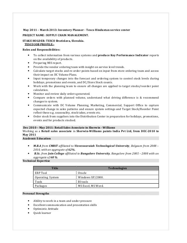 inventory resume - Towerssconstruction
