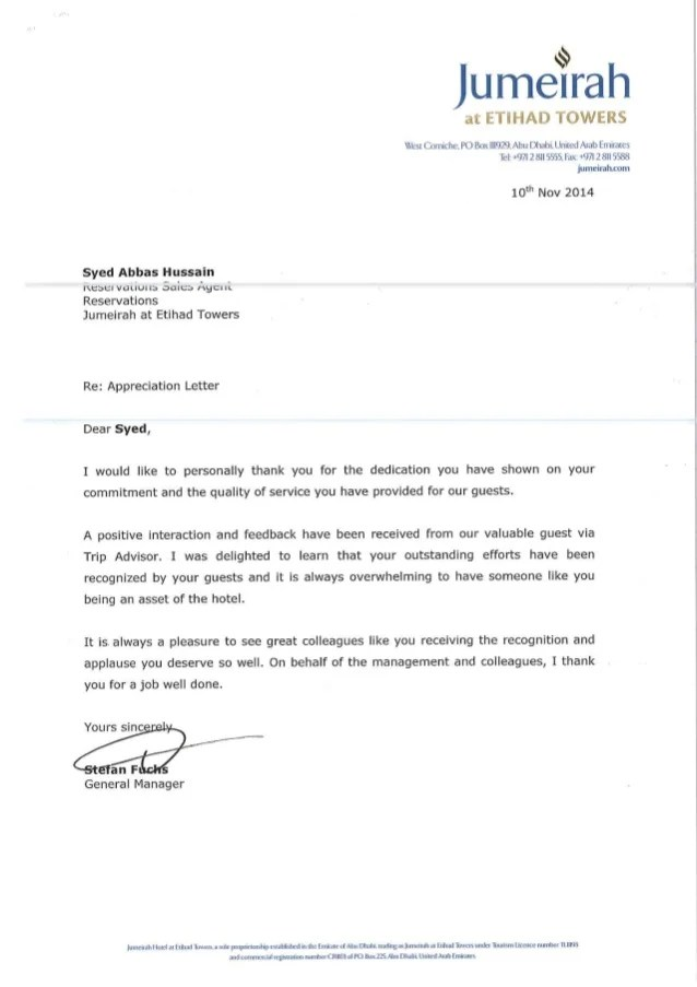 thank you appreciation letter