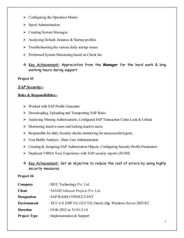 Generator Walter Fendt Mubashir Ahmed Erp Sap Basis Consultant Resume With 3 Yr Exp