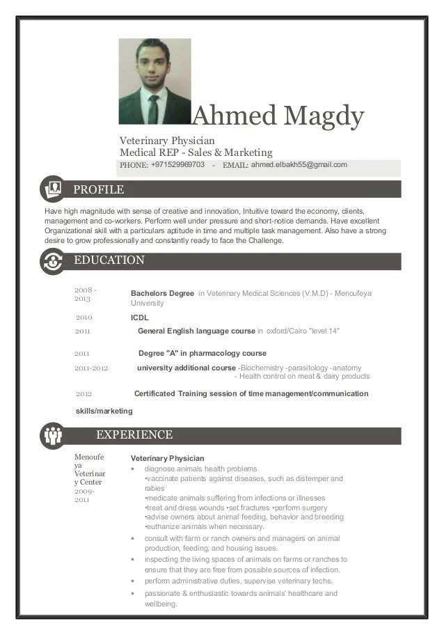 Model Physician Curriculum Vitae Cv Template Acp Ahmed Elbakh Vetmedical Rep Cv