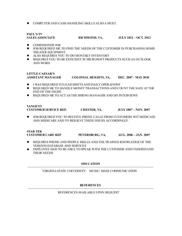 resume words for handling money