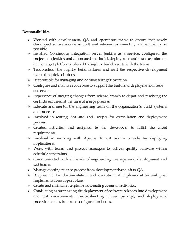 Build and release engineer sample resumes elioleracom - build and release engineer resume