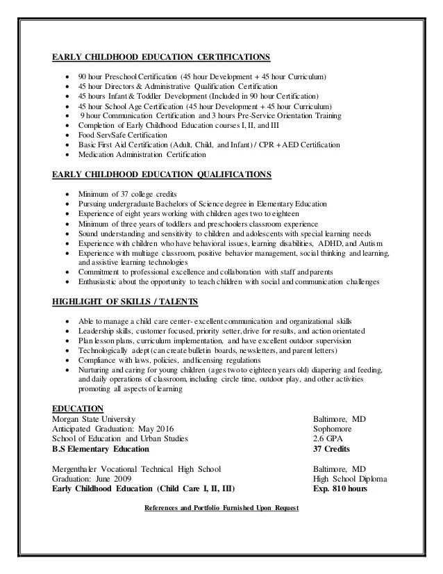 child care skills resumes - Josemulinohouse - child care resume