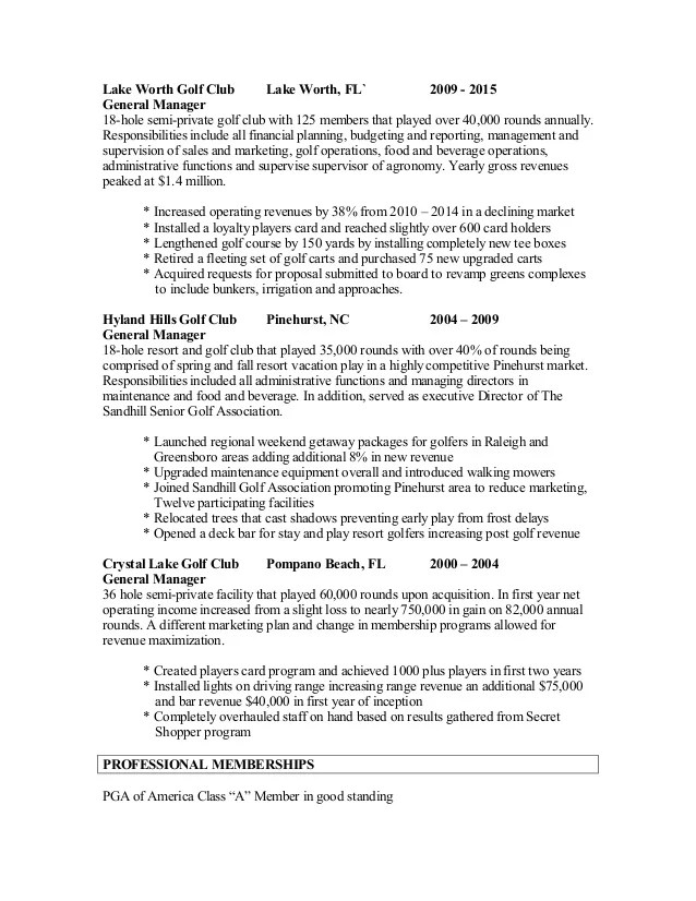 golf professional resumes - Onwebioinnovate - golf cart attendant sample resume