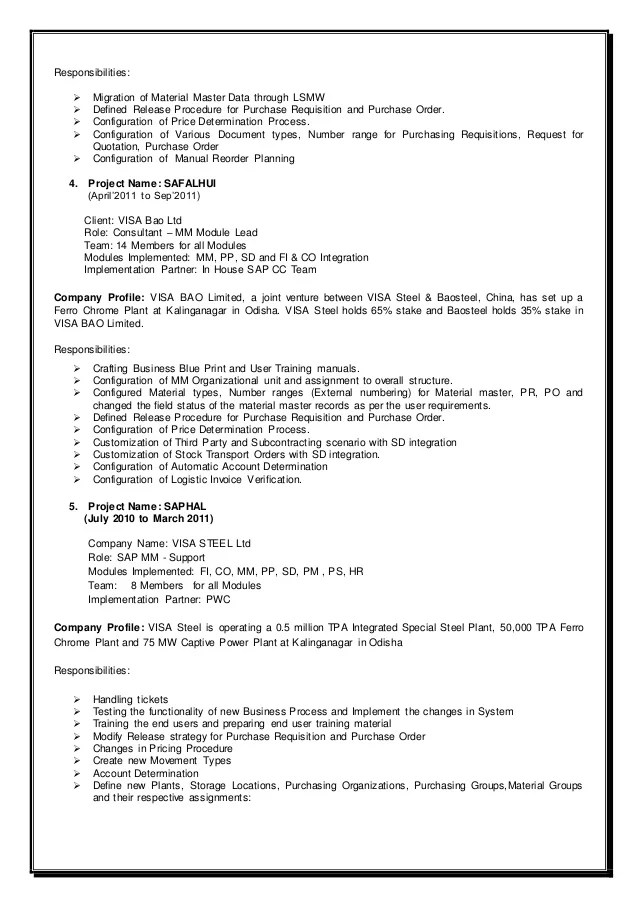 sap mm resume
