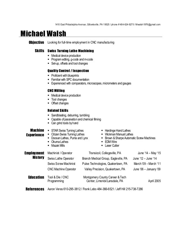 sample machinist resumes
