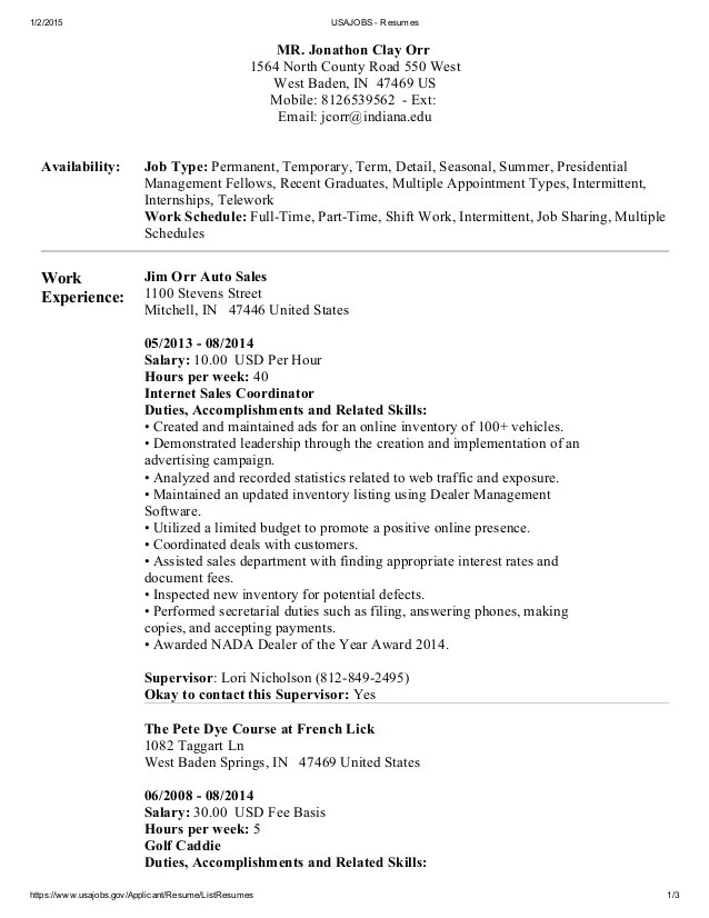 Federal Resume Sample And Format The Resume Place Usajobs Resumes