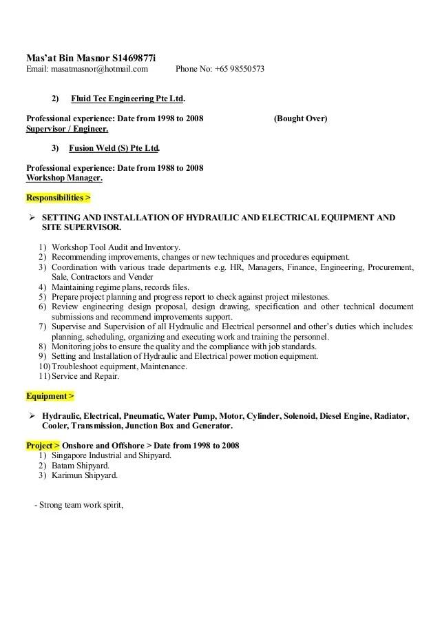 workshop engineer resume