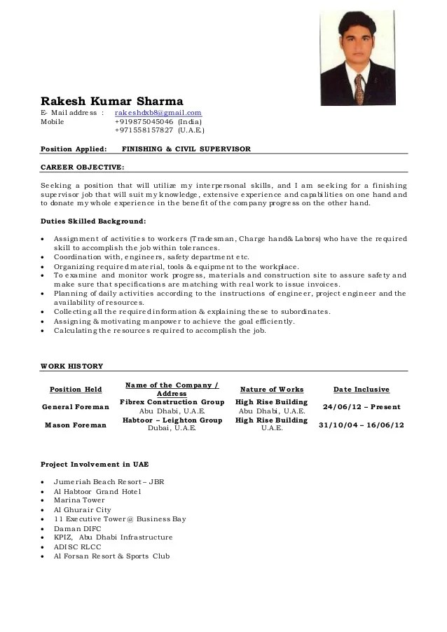 general resume format in word