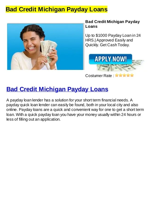 Bad credit michigan payday loans