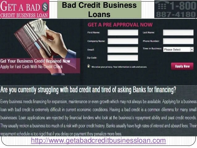 Bad credit small business loans