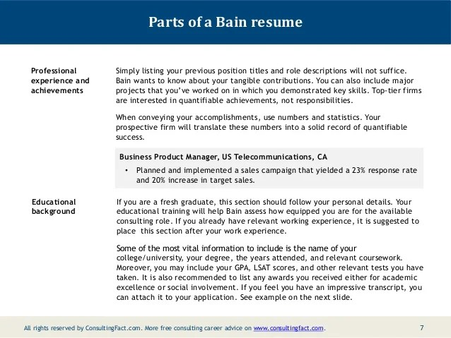 Sample Resume Free Resume Examples Bain Resume Sample