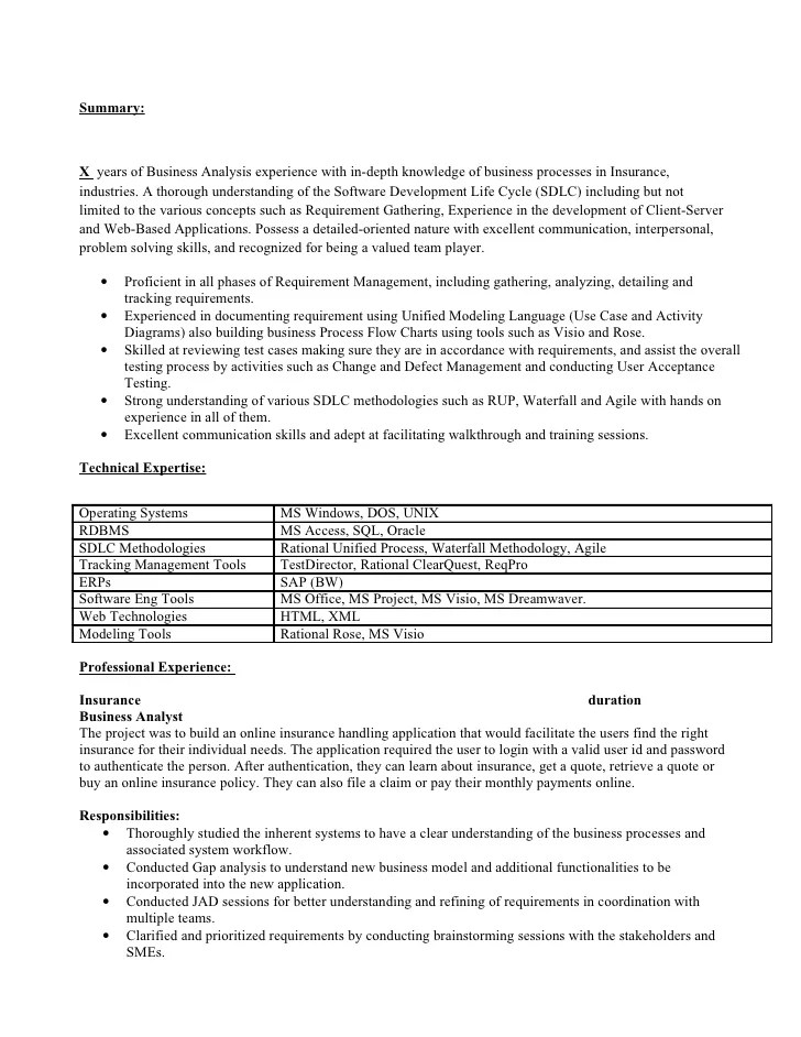 Business Analyst Resume Samples Jobhero Business Analyst Resume For Insurance Industry