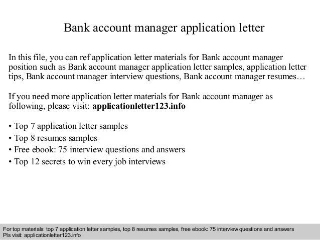 Bank Account Manager Application Letter