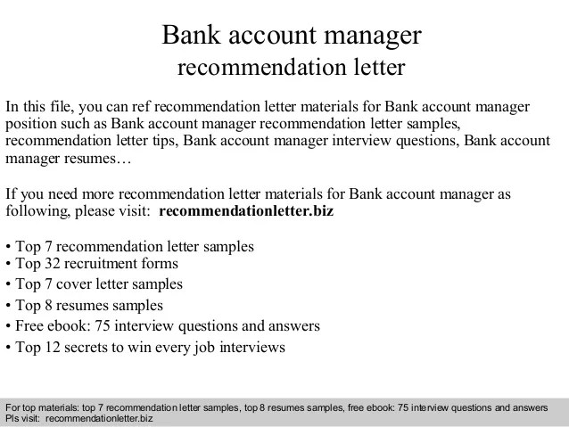 Manager Recommendation Letter Livecareer Bank Account Manager Recommendation Letter