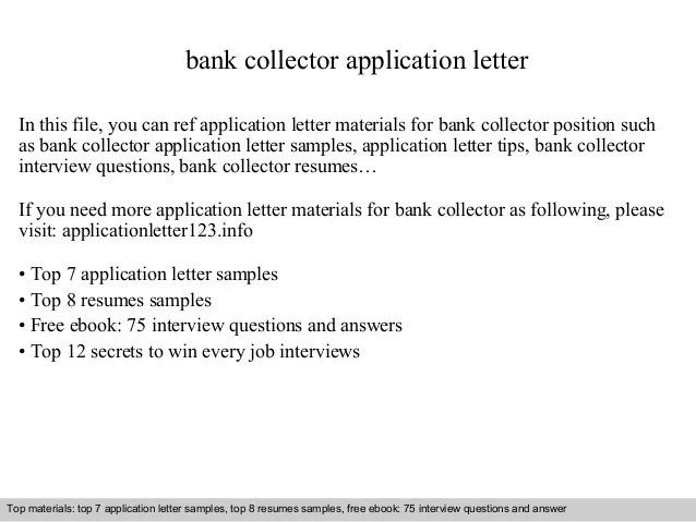 How To Write An Application Letter To Bank Manager Samples Bank Collector Application Letter