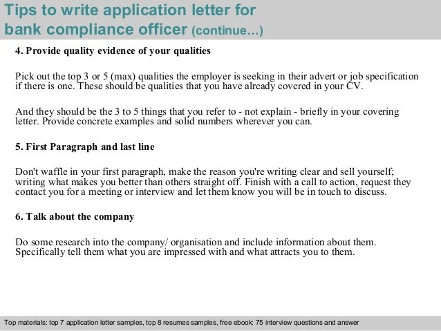 Sample Templates Bank Compliance Officer Application Letter