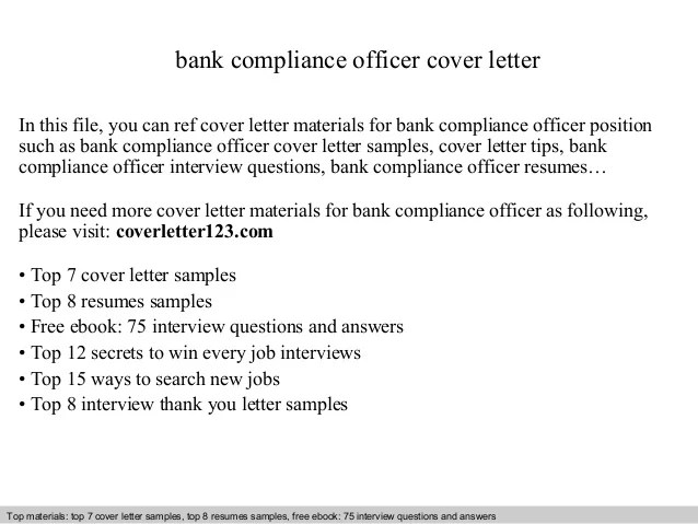 How To Write An Application Letter To Bank Manager Samples Bank Compliance Officer Cover Letter