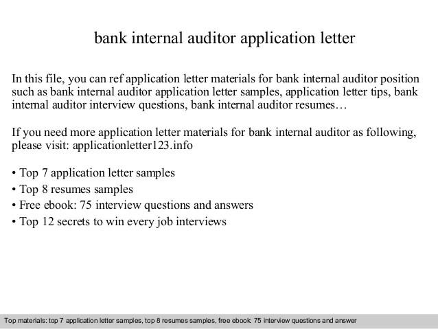 internal audit letter - Alannoscrapleftbehind - bank auditor sample resume