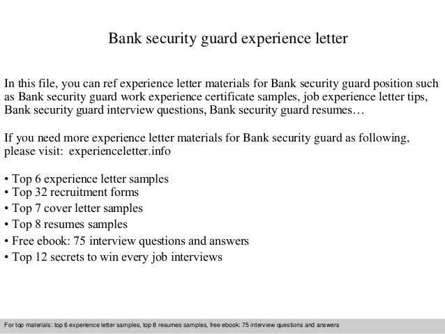 Free Letter Of Recommendation Template And Format Bank Security Guard Experience Letter