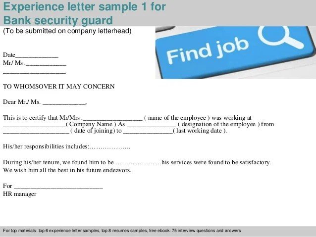 Bank Teller Cover Letter Sample Sample Cover Letters Bank Security Guard Experience Letter