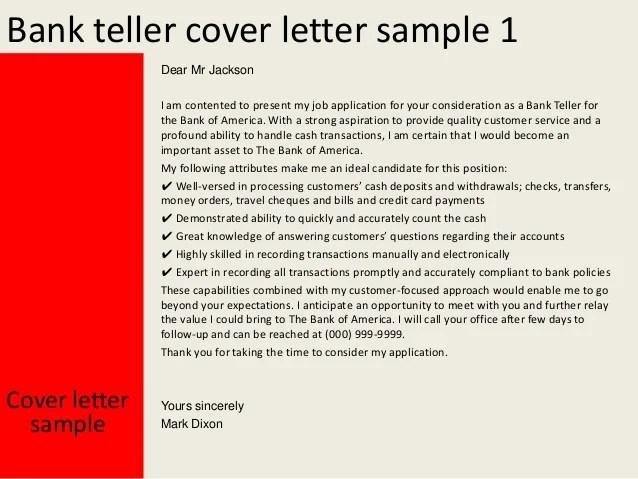 cover letter teller position
