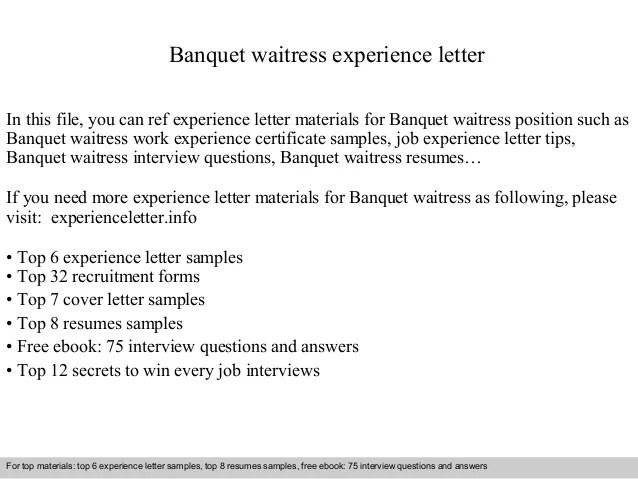 waitress experience - Minimfagency